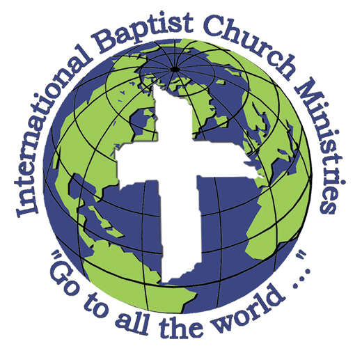 "This image is a larger version of our header logo. It is a globe with the words ""International Baptist Church Ministries"" and ""Go to all the world..."""