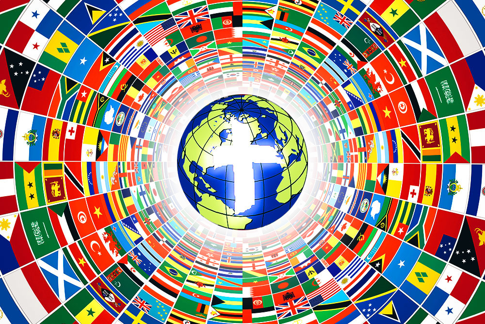 The IBCM logo in this image, is surrounded by a funnel of international flags,